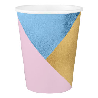 Geometry Gold Lilac Pink Pastel Blue Marine Metal Paper Cup