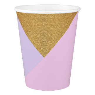Geometry Gold Lilac Pink Pastel Purple Amethyst Paper Cup