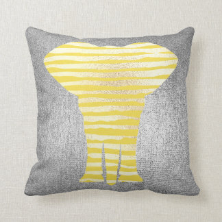 Geometry Gray Silver Stripes Metal Yellow Canary Throw Pillow