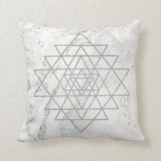 Geometry Ivory Hexagon Marble Triangles White Gray Throw Pillow