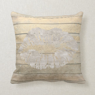 Geometry Kiss Lips Cottage Ivory Wood Grungy Throw Pillow