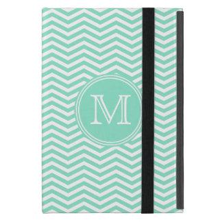 Geometry of chevrón gray mint and monograma iPad mini case