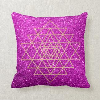 Geometry Peach Pink Rose Gold Purple Glitter Throw Pillow