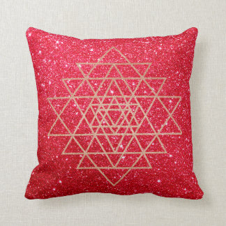Geometry Peach Pink Rose Gold Triangle Red Glitter Throw Pillow