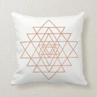 Geometry Peach Pink Rose Gold Triangles Blush Glam Throw Pillow