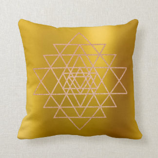 Geometry Peach Pink Rose Gold Triangles Mustard Throw Pillow