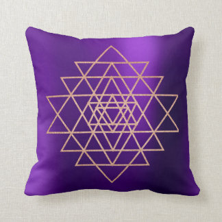 Geometry Peach Pink Rose Gold Triangles Purple Throw Pillow