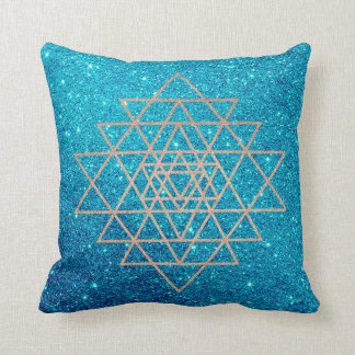 Geometry Peach Pink Rose Gold Turquoise Glitter Throw Pillow