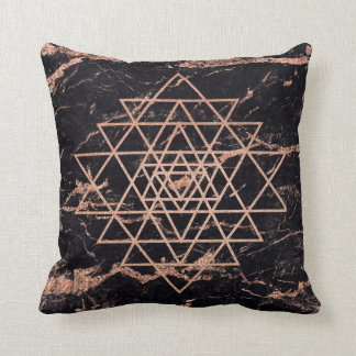 Geometry Peach Rose Gold Triangles Black Marble Throw Pillow