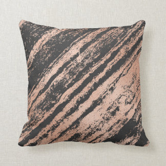 Geometry  Pink Rose Gold Stripes Marble Black Throw Pillow