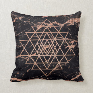 Geometry  Pink Rose Gold Triangle Marble Black Throw Pillow