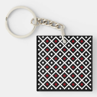 Geometry Red Circle & White Argyle Square Pattern Double-Sided Square Acrylic Keychain