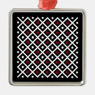 Geometry Red Circle & White Argyle Square Pattern Metal Ornament