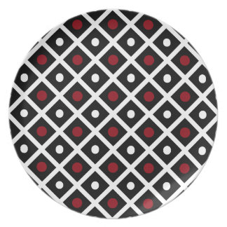 Geometry Red Circle & White Argyle Square Pattern Plate