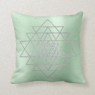 Geometry Silver Gray Merkabah Triangles Greenery Throw Pillow