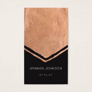 Geometry Stylist Event Black Pink Rose Gold Brush Business Card