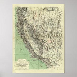 Geomorphic map, California, Nevada Poster