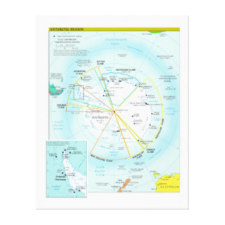 Geopolitical Regional Map of Antarctica Stretched Canvas Print