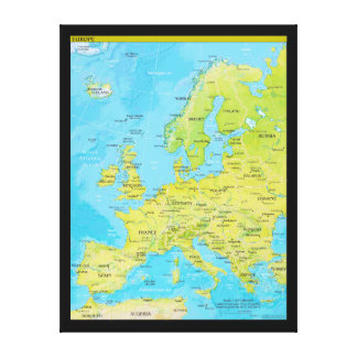 Geopolitical Regional Map of Europe Canvas Print