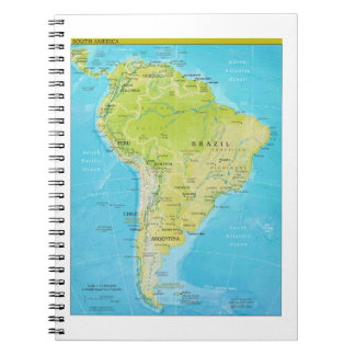 Geopolitical Regional Map of South America Spiral Notebooks