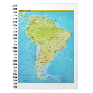 Geopolitical Regional Map of South America Spiral Notebooks