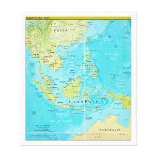 Geopolitical Regional Map of Southeast Asia Canvas Prints