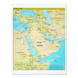 "Geopolitical Regional Map of the Middle East 4.25"" X 5.5"" Invitation Card"