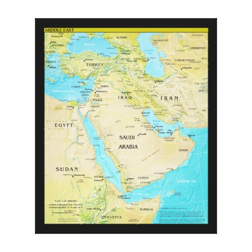 Geopolitical Regional Map of the Middle East Canvas Prints