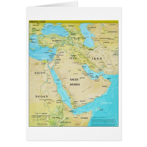Geopolitical Regional Map of the Middle East Greeting Card