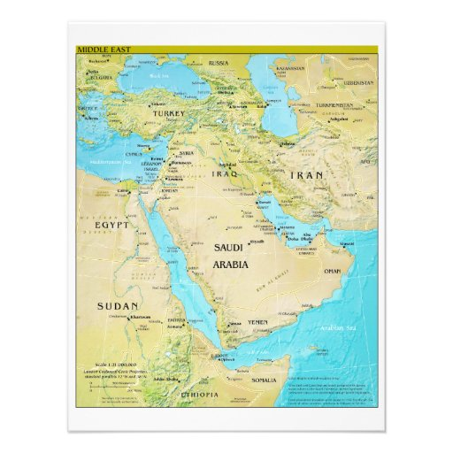 Geopolitical Regional Map of the Middle East Invitation