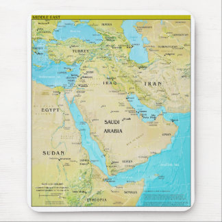 Geopolitical Regional Map of the Middle East Mouse Pad