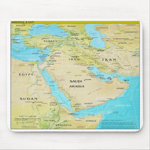 Geopolitical Regional Map of the Middle East Mousepad