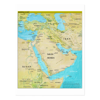 Geopolitical Regional Map of the Middle East Postcard