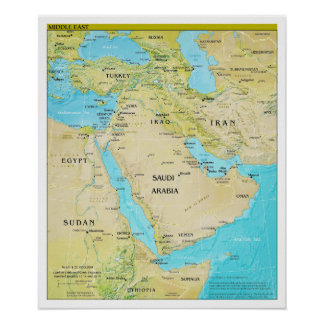 Geopolitical Regional Map of the Middle East Poster