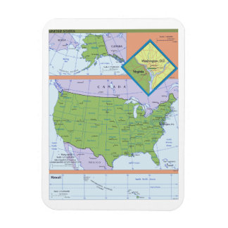 Geopolitical Regional Map of the United States Vinyl Magnet