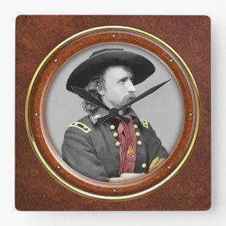 """George A. Custer 10.75"""" Square Wall Clock"""