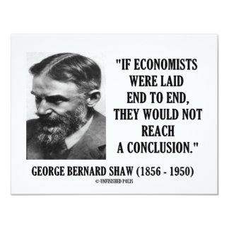 """George B. Shaw If Economists Laid Not Conclusion 4.25"""" X 5.5"""" Invitation Card"""