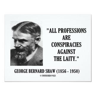 "George B. Shaw Professions Conspiracies Laity 4.25"" X 5.5"" Invitation Card"
