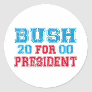 George Bush 2000 Retro Classic Round Sticker