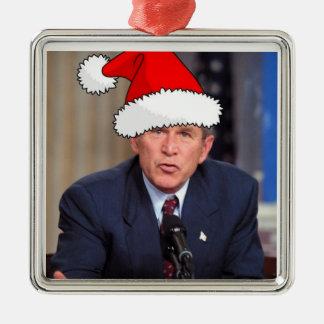 George Bush/Christmas Metal Ornament