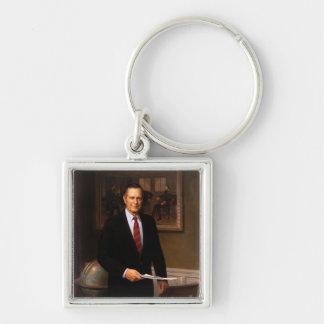 George Bush Silver-Colored Square Keychain