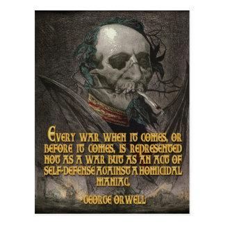 George Orwell Quote on Wartime Propaganda Postcard