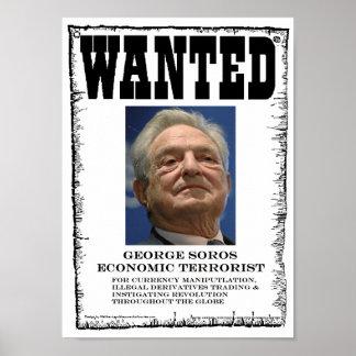 George Soros Economic Terrorist Wanted Poster