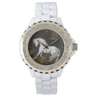 George Stubbs Classic Art of White Horse and Lion Wrist Watches