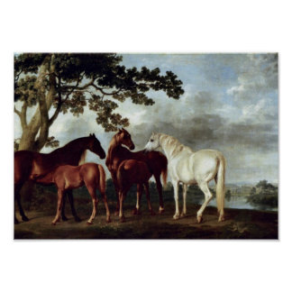 George Stubbs - Mares and Foals in a Landscape Poster