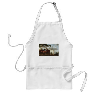 George Stubbs-Mares and Foals in a River Landscape Standard Apron