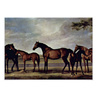 George Stubbs - Mares before an impending storm Poster