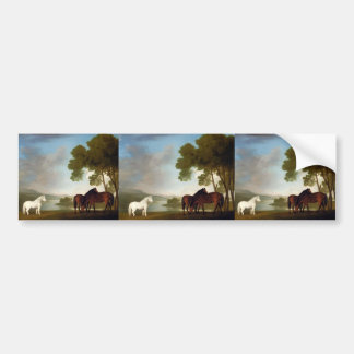 George Stubbs- Two Bay Mares And a Grey Pony Car Bumper Sticker