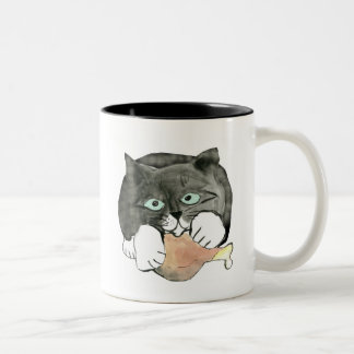George, the Cat, Has made Off with a Chicken leg Two-Tone Coffee Mug