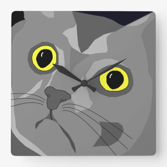 George the cat pop art square wall clock